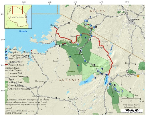 Serengeti Highway map from Africa Wildlife Foundation